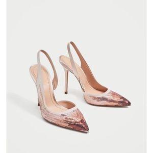 Ombré sequin sling back heels